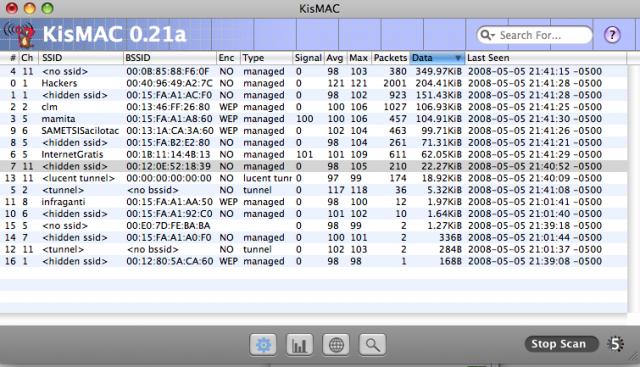 KisMac 0.12a en MacOS Leopard con una tarjeta Edimax Chipset Ralink